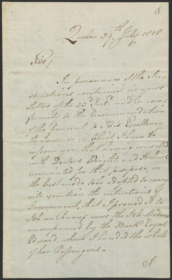 Première page d'une lettre manuscrite, à l'encre noire sur papier blanc.