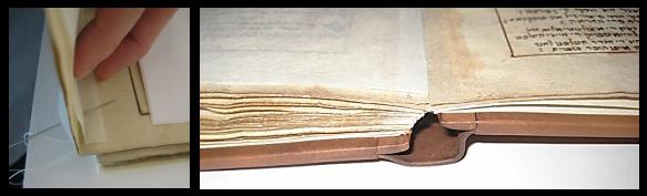 À gauche, en plan rapproché, une main tenant la page d'un livre et une aiguille qui transperce la page. À droite, en plan rapproché, la tranche inférieure du livre qui est déposé, ouvert sur une table.