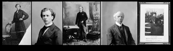 Cinq photographies en noir et blanc de la même personne côte à côte aux âges approximatifs suivants, de gauche à droite : 24, 33, 50, 65 et 70 ans.