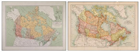Deux cartes du Canada en couleur côte à côte.