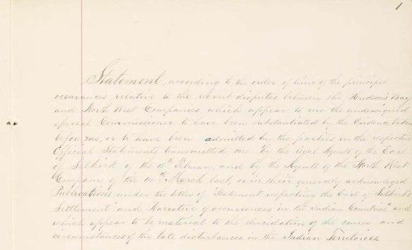 Moitié supérieure de la première page du rapport de William Batchelor Coltman concernant la bataille de la Grenouillère. Pâlis, les mots ont été rédigés à la main à l'encre noire sur du papier de couleur crème. L'écriture commence à gauche de la feuille, avant la ligne rouge verticale délimitant la marge, et elle se poursuit à droite de celle-ci.