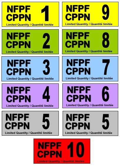 Image en couleur montrant deux colonnes de cinq étiquettes portant les acronymes CPPN et NFPF ainsi qu'un chiffre de 1 à 10.