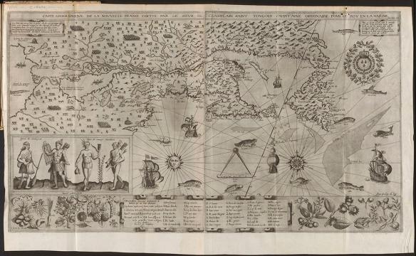 Carte de la Nouvelle-France, qui décrit ce que Champlain connaissait du continent nord-américain en 1612, de la côte atlantique jusqu'à un grand lac à l'ouest. Plusieurs lacs, rivières, montagnes et forêts sont représentés. Des maisons longues, des personnages en canots, ainsi que les portraits de deux femmes et de deux hommes évoquent le mode de vie des Amérindiens. Un grand nombre de dessins tels des légumes, fruits et autres végétaux, des animaux, des poissons, des voiliers, une rose des vents et les armoiries royales de France ornent la carte. Une légende apparaît au bas de la carte.