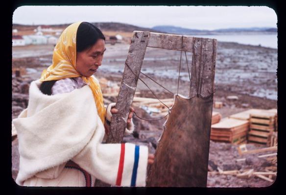 Photo en couleurs d'une femme inuite portant une parka en laine blanche et un foulard jaune. Elle se trouve près du littoral et étend une peau de phoque sur un cadre en bois.