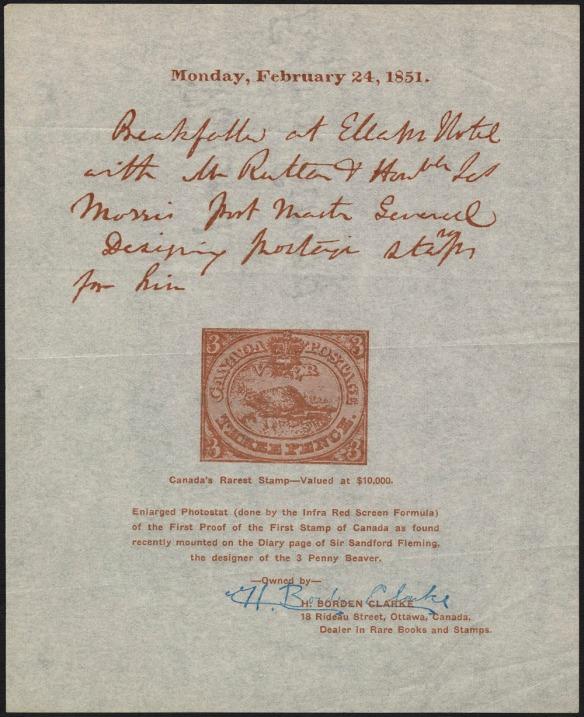 Photocopie d'une page du journal personnel de sir Sandford Fleming. La date est indiquée en haut, le texte manuscrit figure en dessous, et elle est accompagnée du timbre conçu par Sandford Fleming. Sous le timbre se trouve une note dactylographiée; elle indique que la page est une photocopie appartenant à H. Borden Clarke, qui a signé cette page.