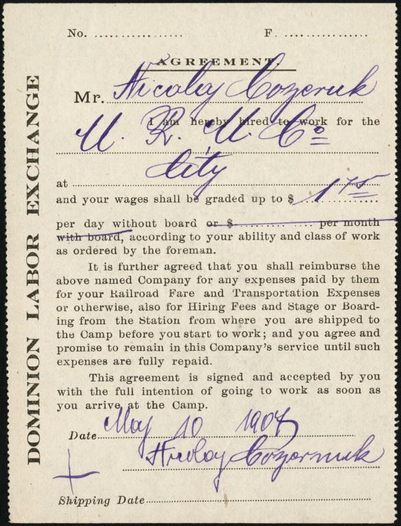 Reproduction d'un formulaire d'engagement d'un ouvrier étranger par la Dominion Labour Exchange en 1907.