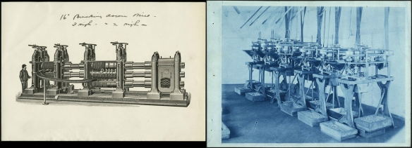 Deux images montrant des machines à fabriquer des écrous et des pièces analogues. La première est une esquisse d'une machine à produire des clous, des vis et des boulons en 1908. La deuxième est une photographie d'une machine fabriquant des clous.