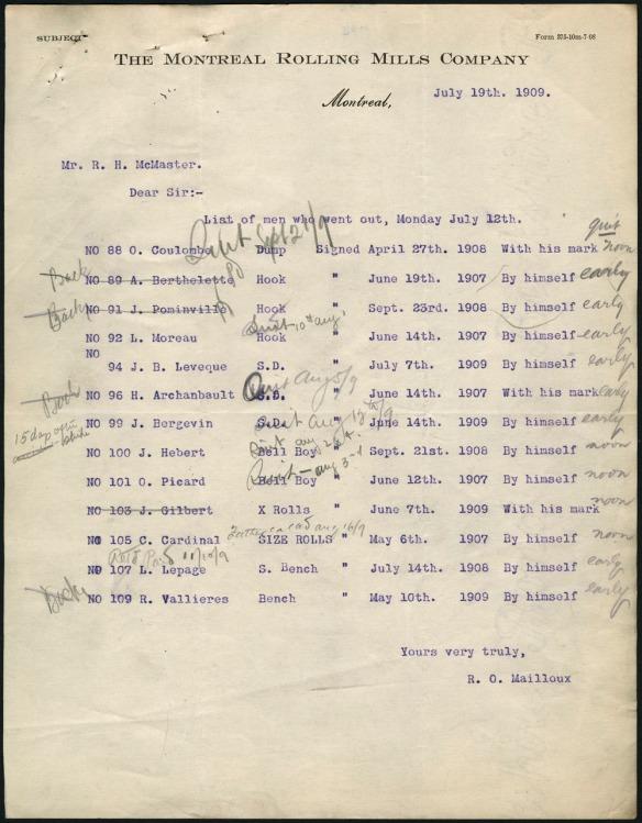 Document montrant une liste des ouvriers en grève en 1909.