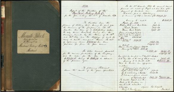 Image couleur montrant la couverture du livre des procès-verbaux des réunions des directeurs et deux pages du texte d'une rencontre tenue en 1870.