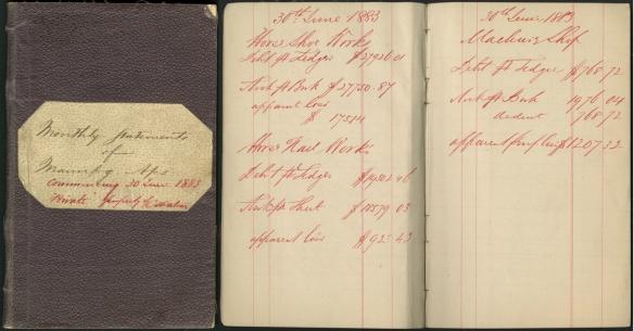 Image couleur montrant la couverture et deux pages du livret de comptes ayant appartenu à C. S. Watson en 1883.