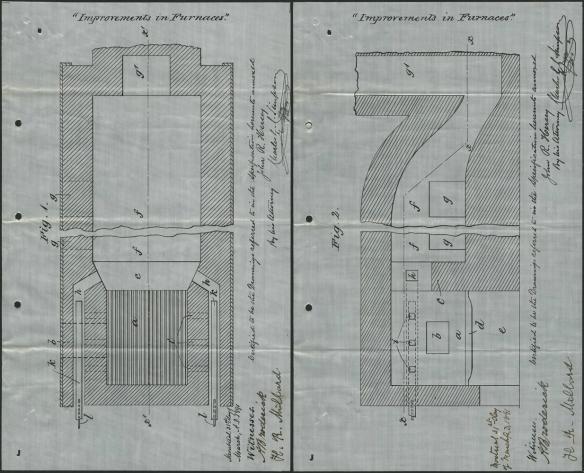 Deux dessins montrant des brevets d'invention pour une fournaise.