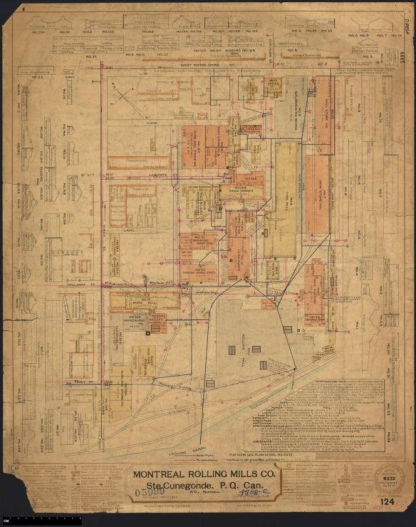 Un plan en couleur montrant une grande usine.