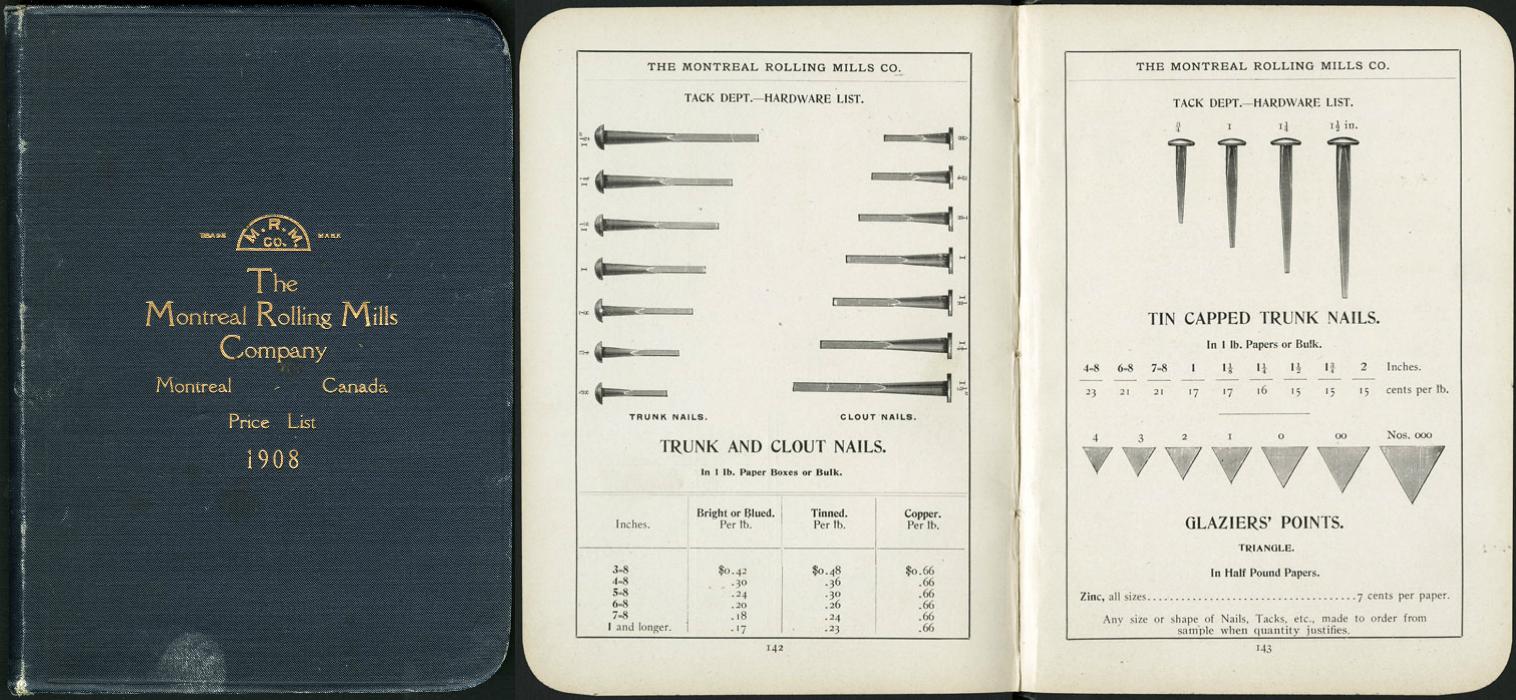 Images couleur montrant la couverture et deux pages du catalogue des produits en 1908.