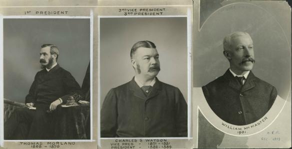 Photographies noir et blanc montrant le portrait de trois hommes d'un certain âge.