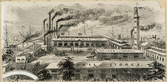 Dessin noir et blanc montrant un complexe industriel en 1868.