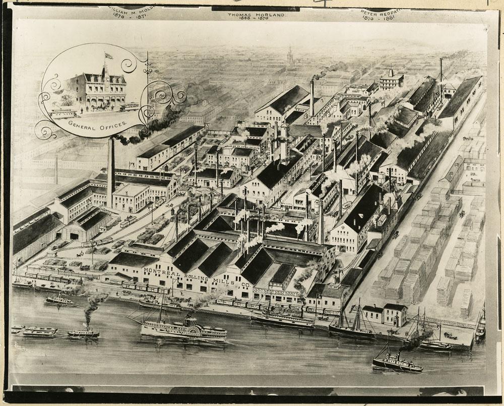 Dessin noir et blanc montrant un complexe industriel en 1900.