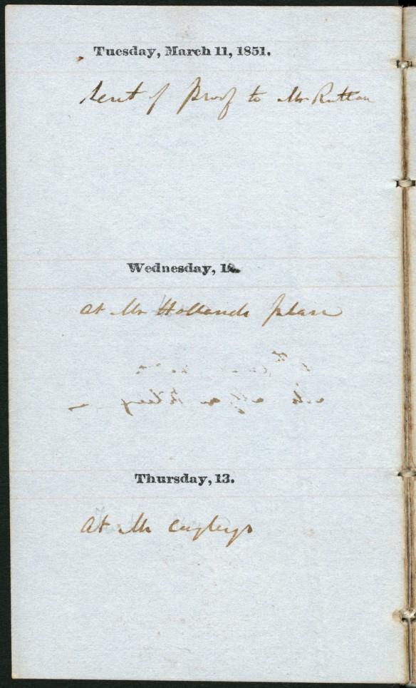 Une page du journal personnel de sir Sandford Fleming, avec la date au haut, suivie d'une unique ligne de texte.