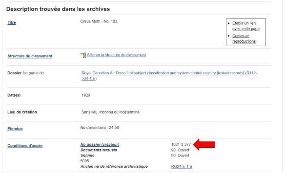 Copie d'écran montrant les résultats d'une recherche de fonds d'archives. Une grande flèche rouge montre où se trouve la référence au bloc 1021.