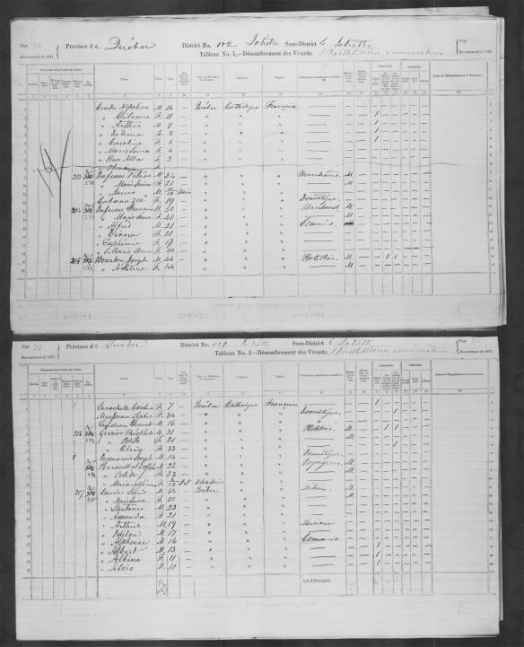 Tableau du recensement intitulé « Tableau No. 1—Dénombrement des Vivants » comportant des entrées manuscrites dans chacune des colonnes. Les colonnes comprennent celles du nom, de l'âge, du sexe, du lieu de naissance, des origines, de la religion, de la profession, de l'instruction, de l'état matrimonial et des infirmités. Chaque ligne a trait à un ménage distinct.