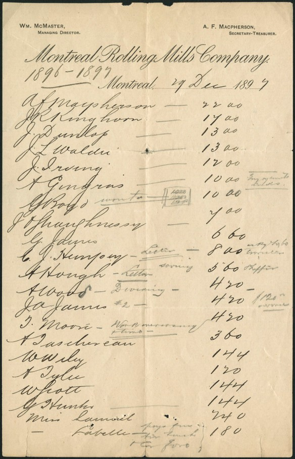 Image montrant une liste des salaires en 1897.