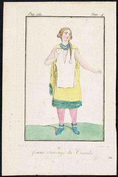 Gravure en couleur d'une femme au teint pâle et aux cheveux blonds portant une robe jaune bordée de vert, un tablier blanc, un collier, des collants roses et des chaussons bleus.