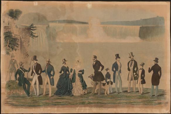 Gravure en couleur représentant des hommes et des femmes élégamment vêtus, devant les chutes Niagara.