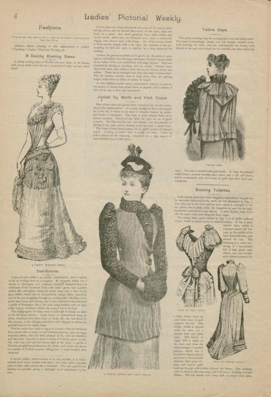 Page d'une revue montrant des illustrations en noir et blanc de femmes portant différentes toilettes, notamment une robe pour l'heure du thé, des vêtements d'extérieur et une robe de soirée.
