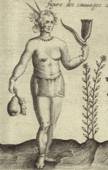 Dessin d'une Amérindienne vêtue d'un pagne, qui porte dans ses mains une courge et un épi de maïs et se tient debout à côté d'un plant de topinambours.
