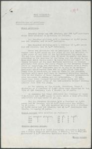 Trois pages de rapport (dactylographiées et non datées) sur les opérations de l'artillerie durant la bataille de la crête de Vimy. On y explique brièvement les tactiques utilisées pour sécuriser les différents objectifs.