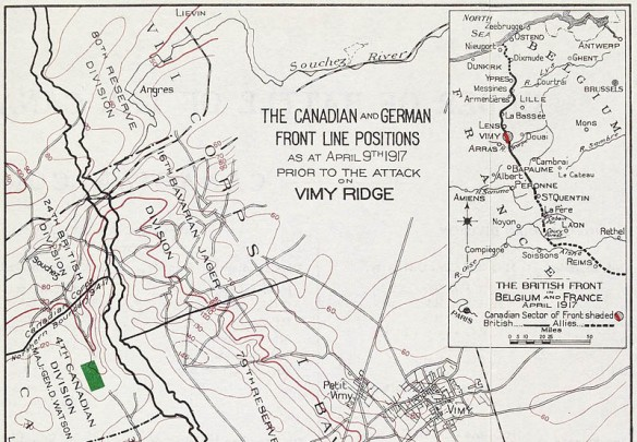 Une carte avec un gros plan d'une section des positions militaires canadienne et allemande et dans la cartouche on peut voir toute la ligne du front, de la mer du Nord jusqu'à Reims dans le sud.