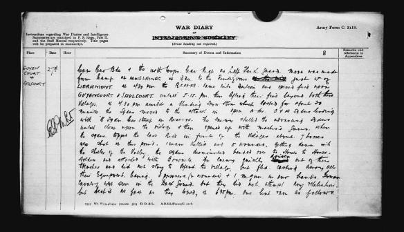Reproduction en noir et blanc d'une entrée dans un journal de guerre indiquant le lieu, la date, l'heure, un résumé des événements et d'autres informations.