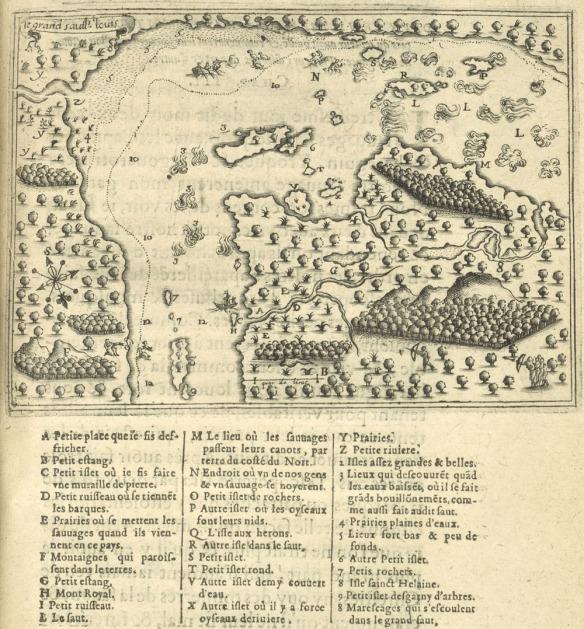 Petite carte représentant les rapides de Lachine, le fleuve Saint-Laurent et plusieurs îles, bordés de terres boisées et de rivières. Des chasseurs apparaissent à plusieurs endroits. Il y a une scène représentant la noyade d'un Amérindien et d'un Français dans les rapides. Une légende apparaît au bas de la carte.