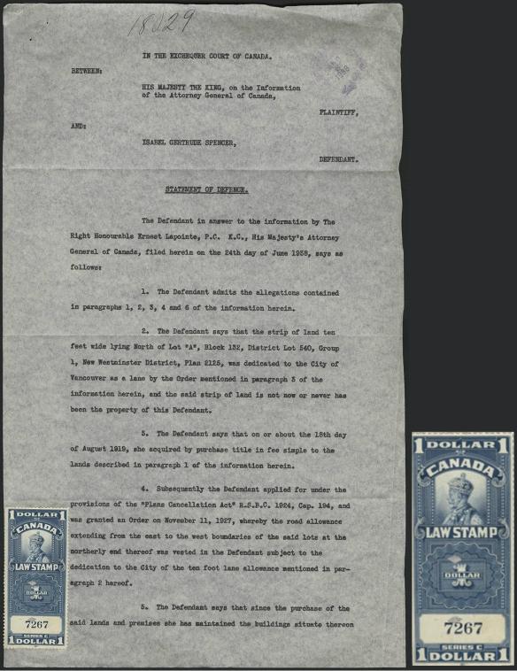 Page dactylographié montrant la déclaration de défense de Mme Spencer. Un timbre à l'effigie de George V y est apposé au bas, avec la mention « 1 dollar. Canada. Law Stamp. »