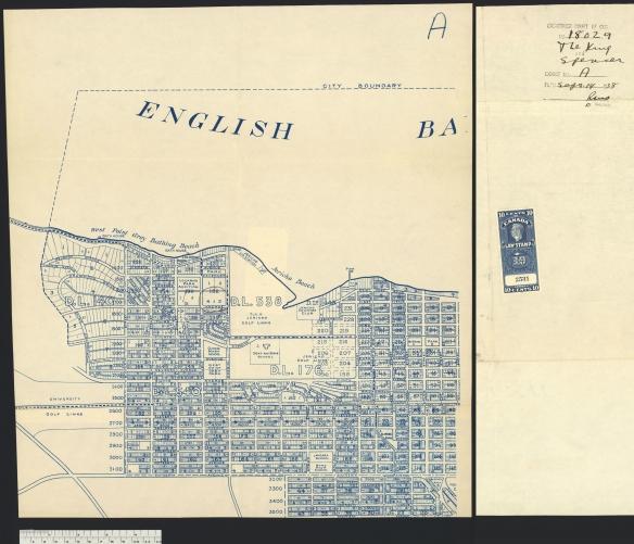Carte sur laquelle est encerclée la propriété d'Isabel Gertrude Spencer. On peut voir sur une deuxième page le numéro de la cause, le titre « The King and Spencer », le numéro de dossier, la date et, au bas, un timbre de 10 cents montrant que le dépôt a été acquitté.