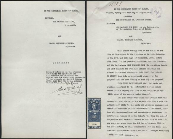 Deux pages dactylographiées du jugement. La première (la page couverture) montre les informations de base : nom, dossiers, date, etc. La deuxième montre le texte du jugement.