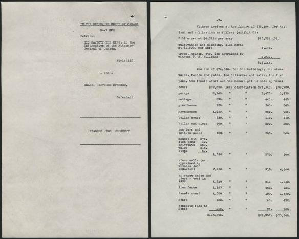 Deux pages dactylographiées. La première montre les informations de bases relatives à la cause, et la deuxième, une liste des installations sur la propriété et de leur évaluation foncière.