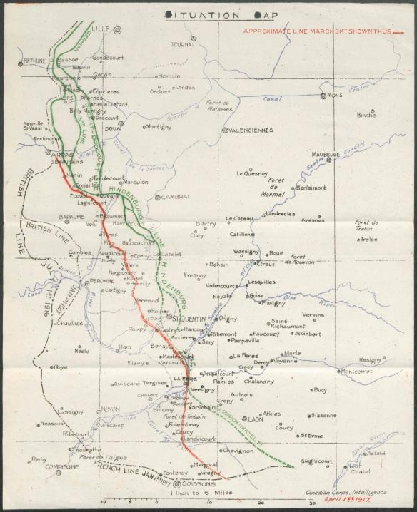 Une carte de couleur indiquant les endroits, les rivières et les lignes mobiles de défense.
