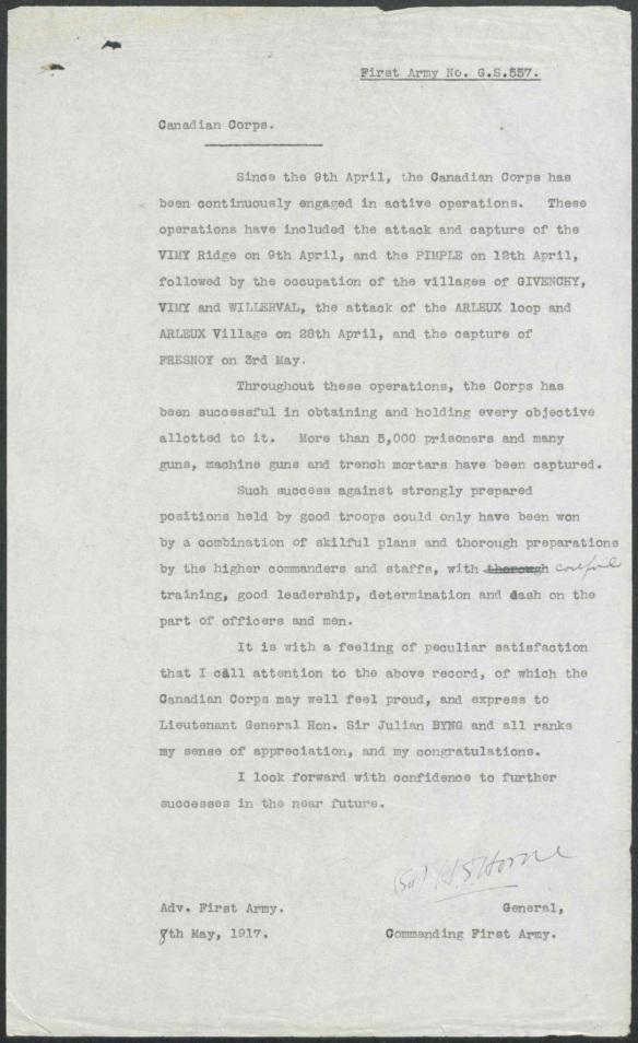 Lettre dactylographiée destinée au Corps d'armée canadien et signée par le général Horne, commandant de la Première armée.