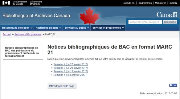 Capture d'écran d'une page Web intitulée « Notices bibliographiques de BAC en format MARC 21 ». En dessous, il y a des liens hebdomadaires : Semaine 1 (Le 6 janvier 2017), Semaine 2 (Le 13 janvier 2017), etc.