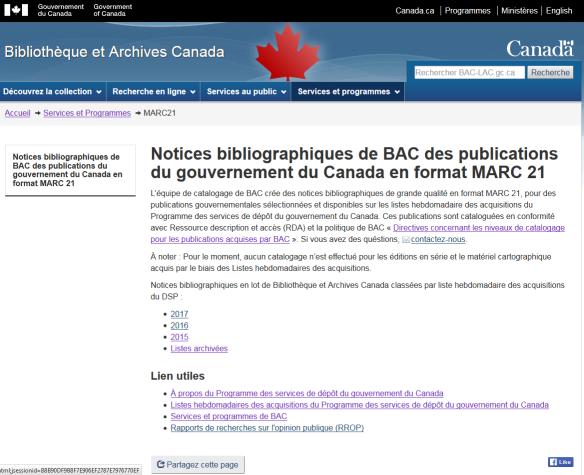 Une capture d'écran de la page Web sur les notices bibliographiques de BAC pour les publications du gouvernement du Canada en format MARC 21.