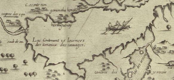 Détail de la carte représentant le lac Ontario et les chutes Niagara. Trois Amérindiens naviguent en canot sur le lac, qui est entouré de groupes de maisons longues.