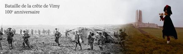 Bannière avec deux photos: une montrant une photo de la bataille de la crête de Vimy qui transitione vers une image plus contemporaine montrant le mémorial de Vimy