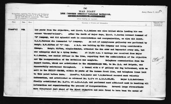 Compte rendu dactylographié des actions du sergent suppléant Sifton qui lui ont valu la médaille de la Croix de Victoria :