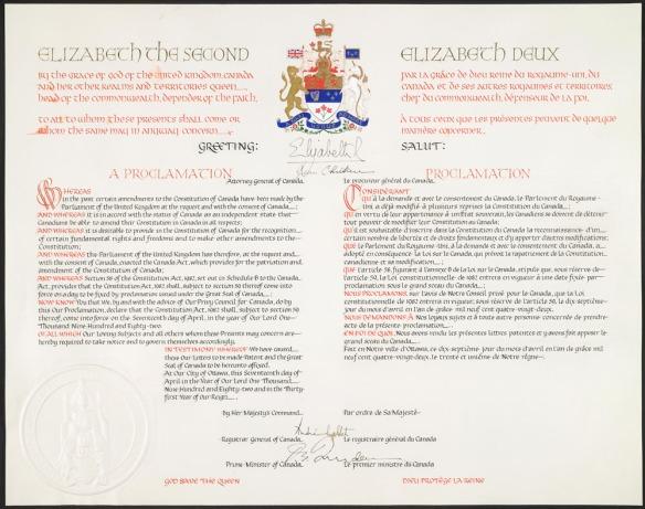 Document blanc-jaune pâle, rédigé à l'encre noire et rouge, orné des armoiries du Canada dans le haut.