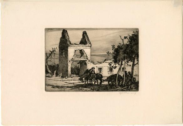 Une gravure représentant un groupe de soldats entourant un canon tiré par deux chevaux devant les ruines d'une maison de ferme.