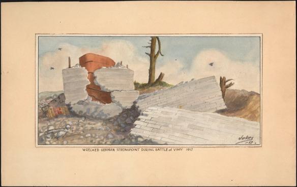 Une aquarelle représentant un mur de briques et de ciment dont les débris jonchent une petite colline, avec à l'arrière-plan des arbres brisés et des avions volant au-dessus.