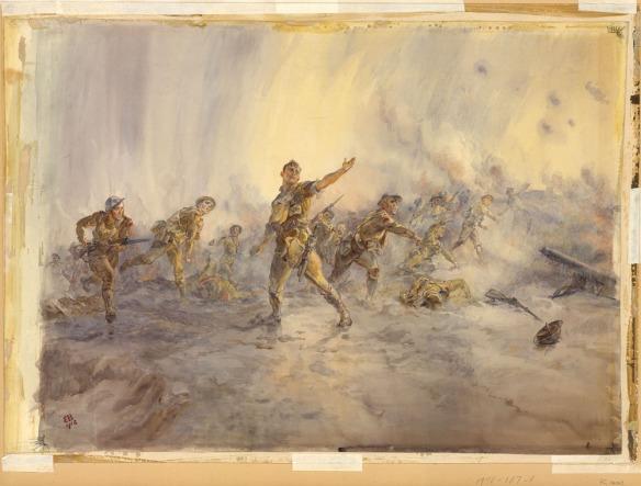 Une peinture en couleur représentant un groupe de soldats donnant l'assaut en lançant des grenades dans diverses postures. Quelques soldats s'avancent armés de fusils et de baïonnettes, alors que d'autres sont étendus au sol, morts. Le tableau se décline en couleurs pastel très douces et les soldats sont peints avec beaucoup de délicatesse.