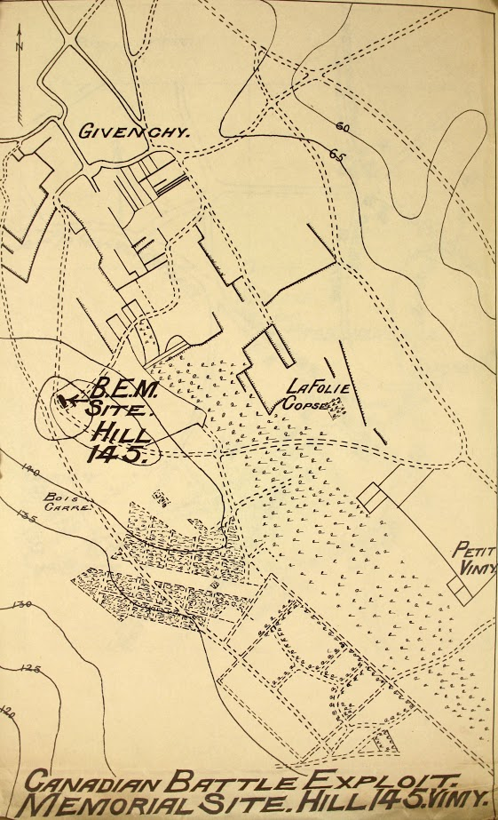 Carte intitulée « Canadian Battle Exploit, Memorial Site. Hill 145 » (Site du mémorial soulignant les exploits militaires canadiens. Colline 145)