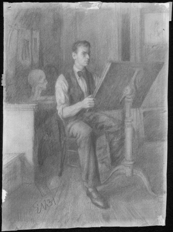 Dessin au plomb et au crayon Conté d'un jeune homme assis à une table à dessin, le regard tourné vers nous. L'œuvre est signée « EN31 ».