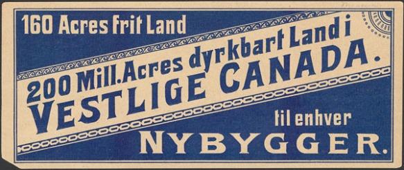 Une petite carte en norvégien sur laquelle les caractères et le fond sont en alternance bleus ou sépia.